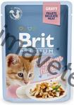Brit Premium Cat kaps. Delicate Fillets in Gravy with Chicken for Kitten 85 g